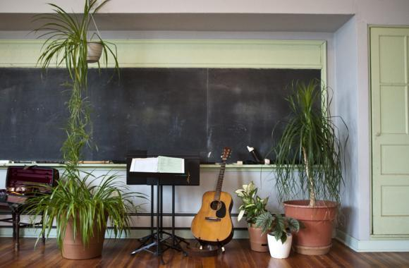 Debby Greenblatt's home - a former school in Avoca, Neb. - is filled with plants.