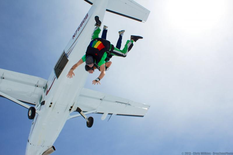 Charity Nebbe takes a tandem jump with Elliot Kelley at Paradise Skydives in Vinton