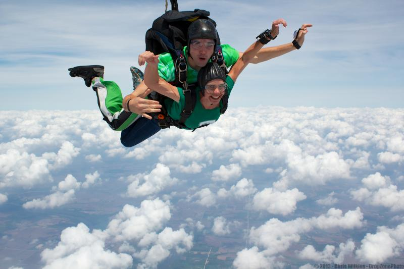 Charity Nebbe takes a tandem skydive jump with Elliot Kelley at Paradise Skydives in Vinton