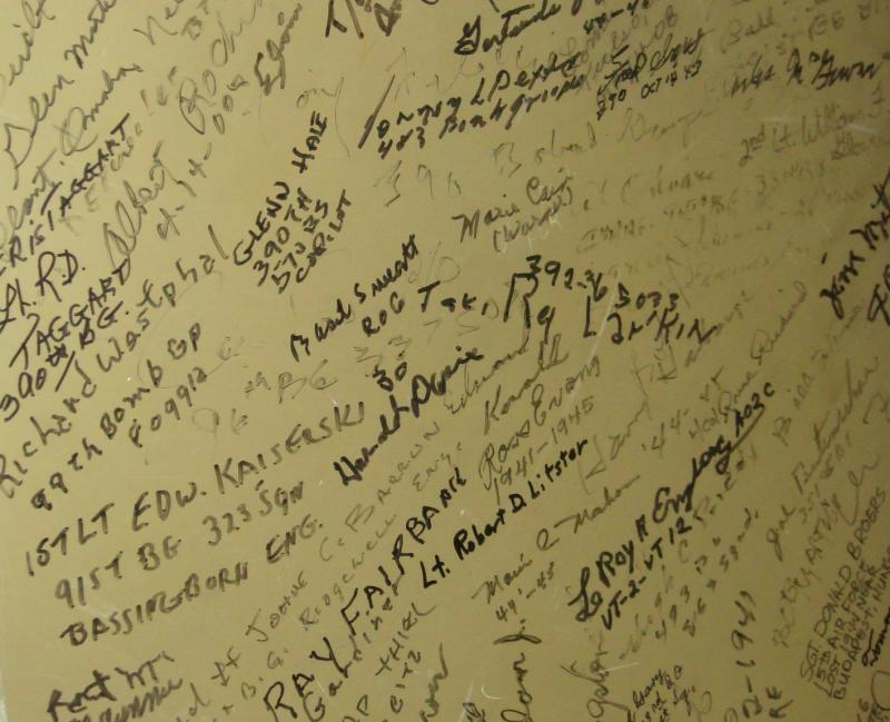 Signatures on the bulkhead, of airmen who flew in the B17.