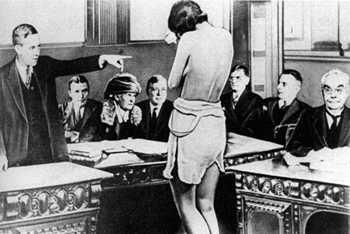 "Alice Rhinelander's lawyer forced his client to bare her breasts and legs to the all-white, all-male jury in order to prove that her mixed background was obvious in the 1925 divorce case ""Rhineland v. Rhineland."""