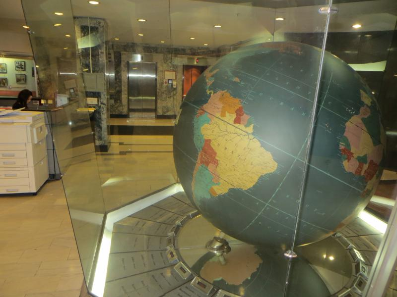 The impressive globe has been welcoming visitors to the lobby since the mid '50s.