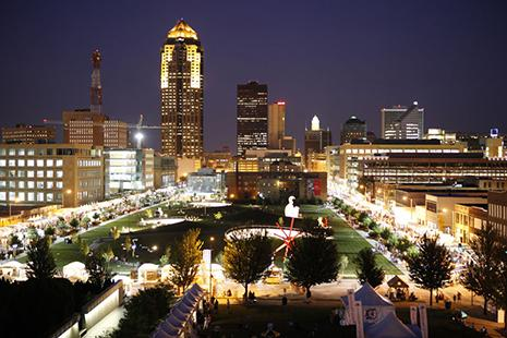 Western Gateway Park in Des Moines at night, home of the Des Moines Arts Festival.