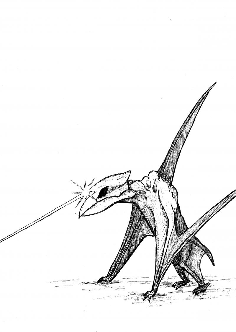 """Artist rendering by """"The Van Meter Visitor"""" co-author Kevin Lee Nelson.  A giant bat-like creature supposedly terroized Van Meter in 1903."""
