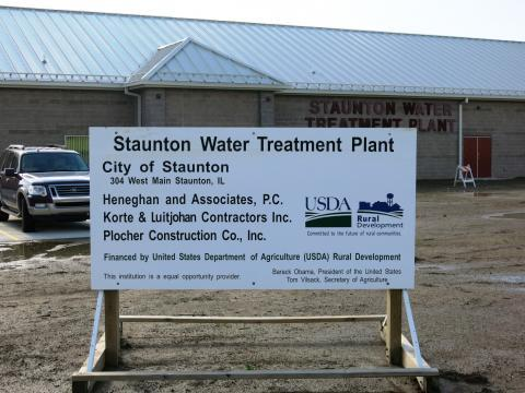 The Staunton water plant's funding source is spelled out in signs on the property.