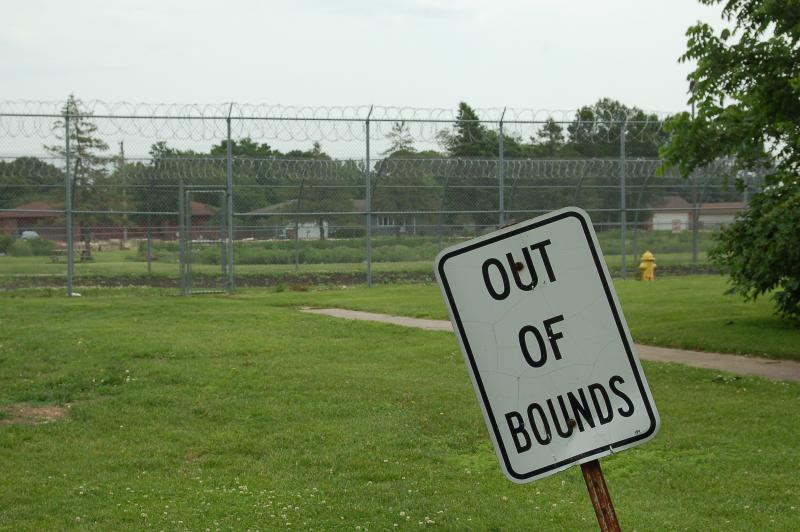 The fence bordering the Iowa Correctional Institution for Women in Mitchellville