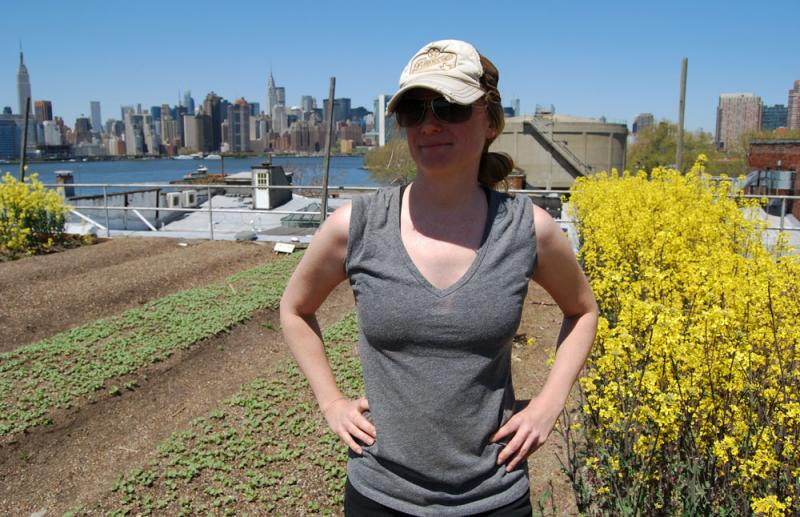 On the Brooklyn rooftop garden she helps maintain, Missouri native Monica Johnson says she's not afraid to show her farm roots.
