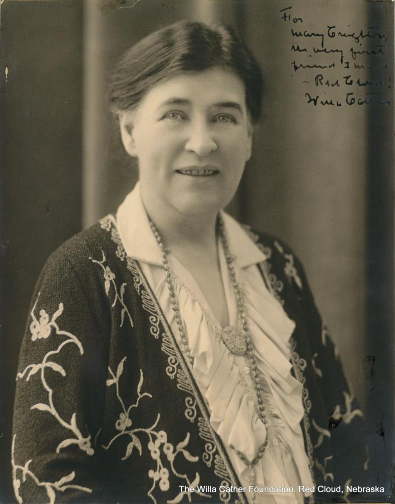 "Photograph of Willa Cather dedicated to Mary Creighton. Inscribed by Cather, ""For Mary Creighton, the very first friend I made in Red Cloud! Willa Cather."""