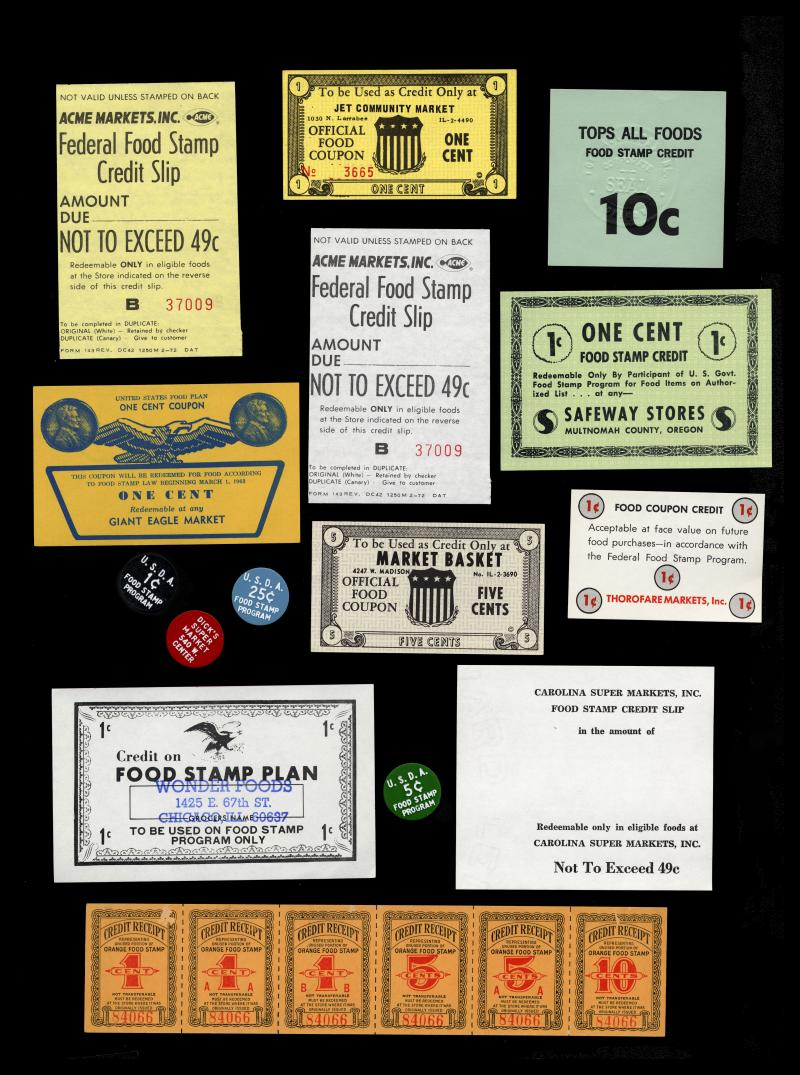Pictured above are food coupon artifacts from the National Museum of American History. Upon purchase, grocers provided receipts of their own design, which costumers used for the next purchase.