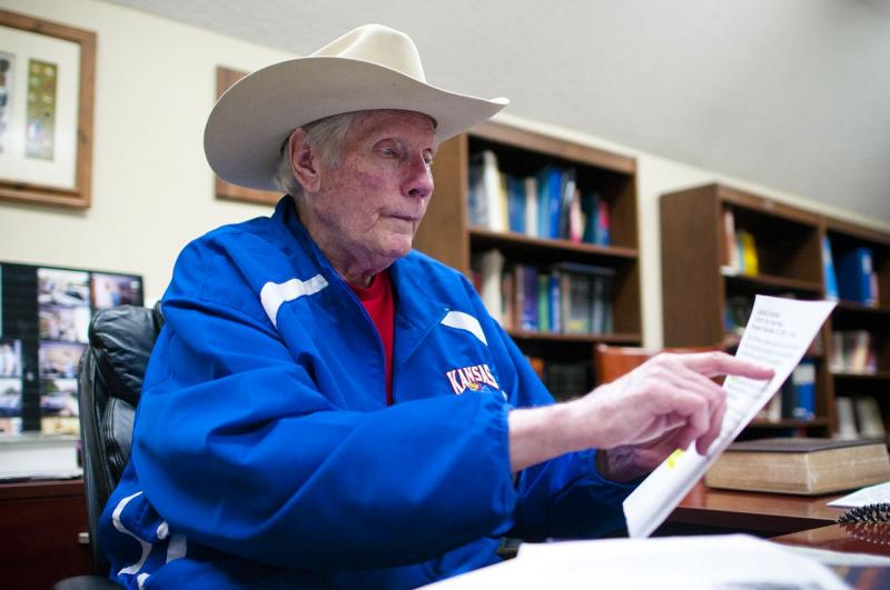 Pastor Fred Phelps sits at his home office in Topeka, KS. June 2011.