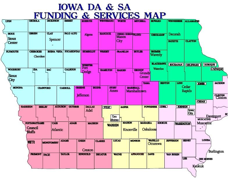 A map divides Iowa into 6 regions, each with designated service providers.
