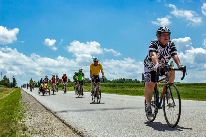Cyclists traveling from Council Bluffs to Harlan on the first day of RAGBRAI XLI