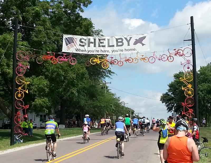 An archway made out of old bicycles welcomes riders to Shelby.