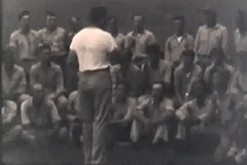 The prison barershop choir, seen in a still-frame from WOI-TV's 1952 documentary.