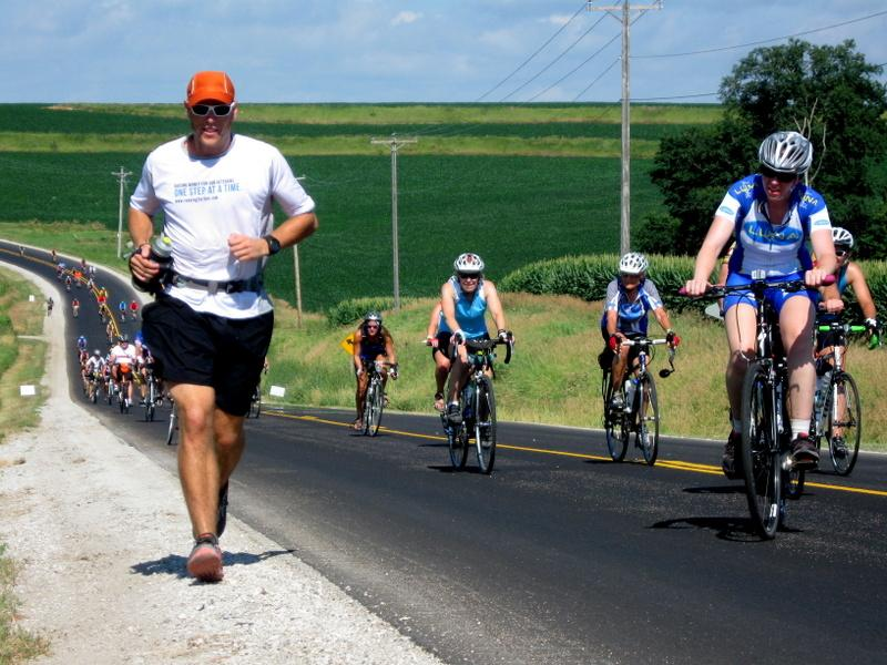 Richard Kresser is attempting  to  become the first person to run the entire RAGBRAI route