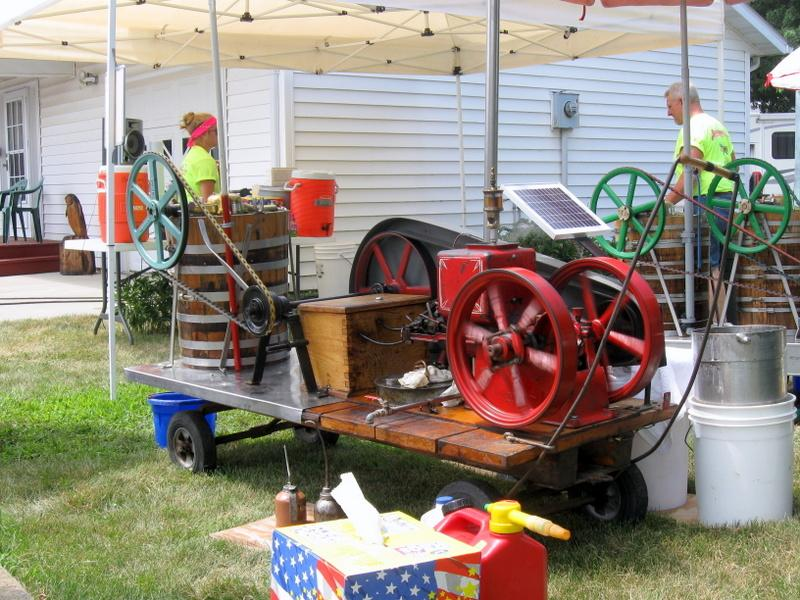This engine built in 1913 is hooked up to an ice cream freezer in Tennant
