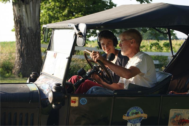 Charity Nebbe and Dean Yoder in his 1924 Ford Model T