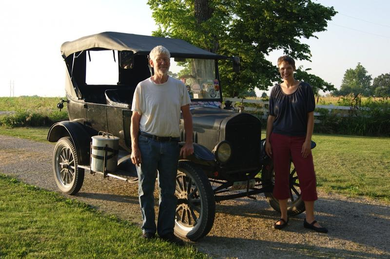 Charity Nebbe and Dean Yoder by his 1924 Ford Model T