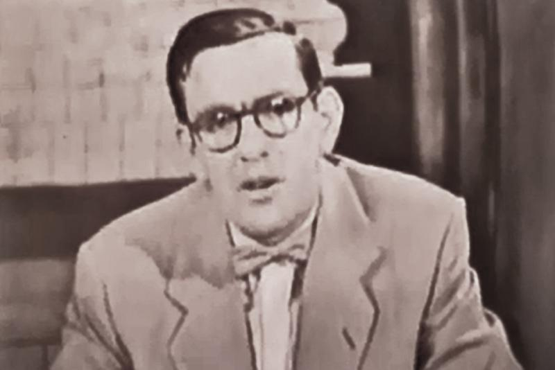 Still-frame of Ray Stewart, one of Iowa's pioneer TV investigative reporters.