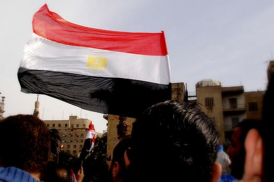 The Egyptian flag in Cairo in 2011