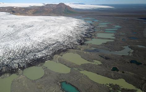 Pictured above is Iceland's Múlajökull Glacier with its surrounding drumlins.  Iverson and his team will be conducting fieldwork near the glacier this August.  The site is located about 1 1/2 hours via helicopter outside Iceland's capital Reykjavik.