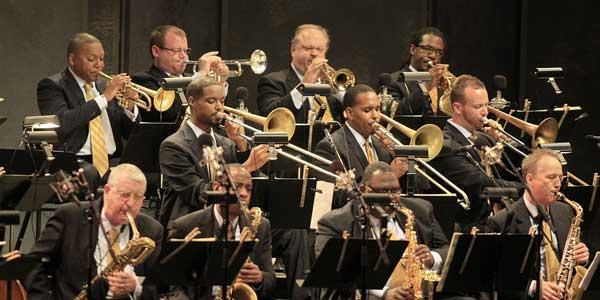 Wynton Marsalis, upper left, onstage at the Hollywood Bowl with the Jazz at Lincoln Center Orchestra in 2011.