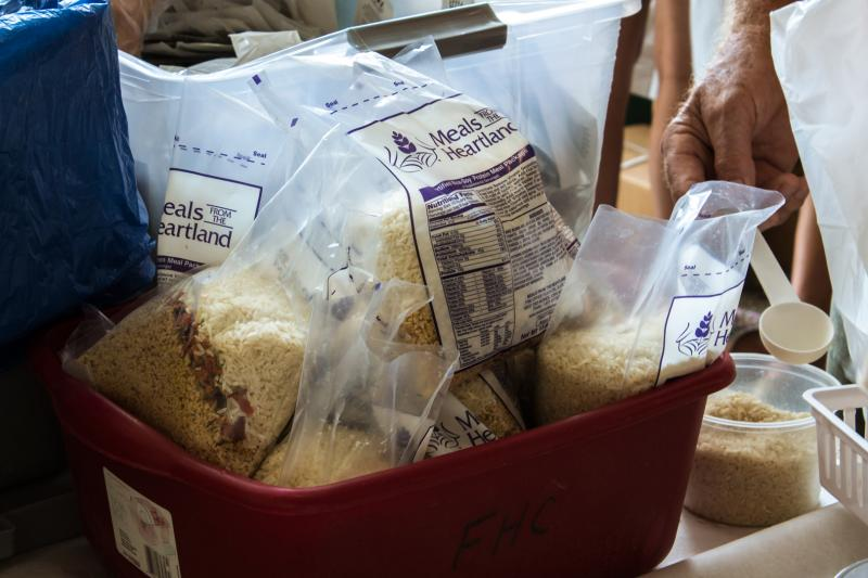 On the first day of the 2013 Iowa State Fair, 15-hundred volunteers assembled 255,096 bags of rice, soy protein, dried vegetables, & a vitamin packet for Meals from the Heartland. They're shipped to places around the world where there is food insecurity.