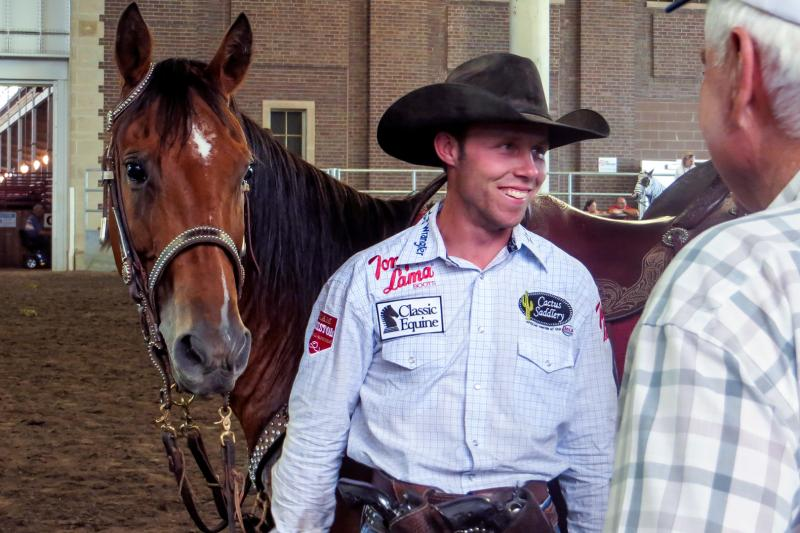 Cowboy mounted shooting debuts at this year's Iowa State Fair.  One of the riders shooting at the fair is world champion Chad Little as he rides his horse Jax.