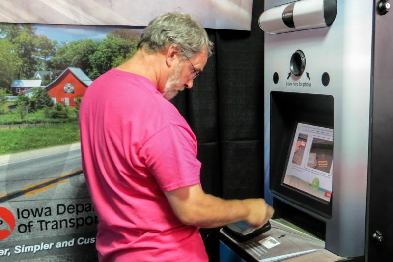 For the first time the Iowa Department of Transportation allows fairgoers to renew their driver's license using these kiosks.