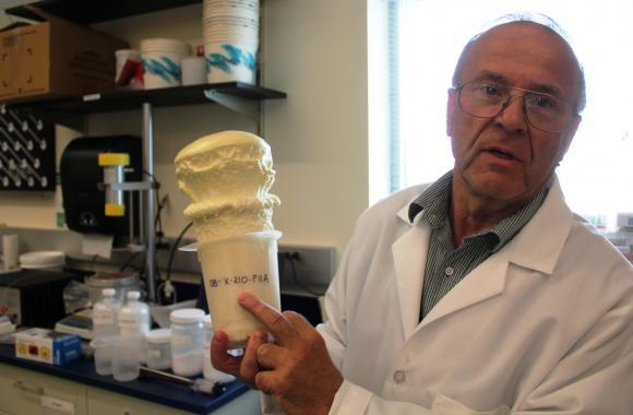 Ivan Javni displays a soy-based foam produced at the Kansas Polymer Research Center.