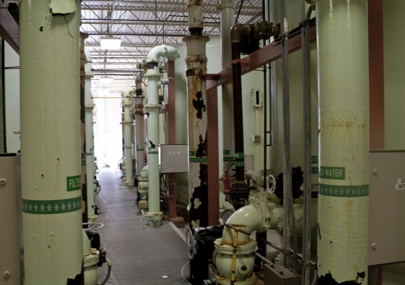 Inside Des Moines Water Works' denitrification facility.