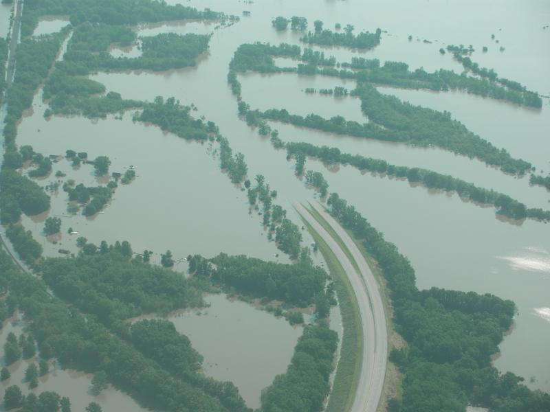 Flooding on Iowa roads.