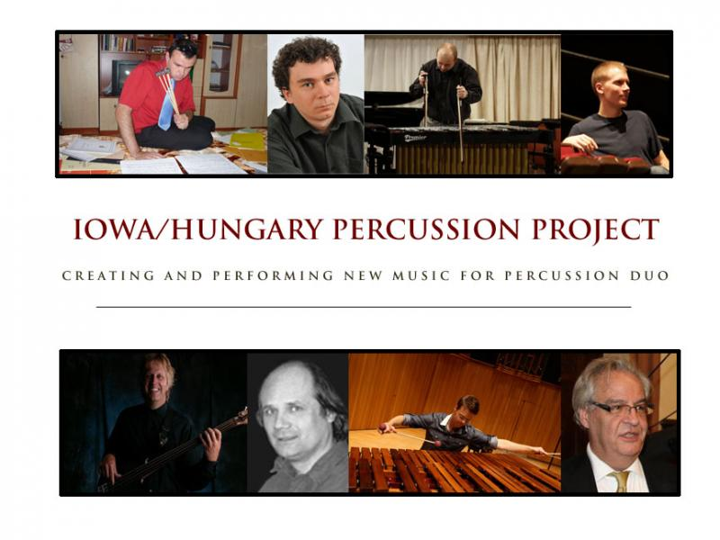 Matt Andreini, Gabor Palotas, and the six composers commissioned to write percussion duos for the Iowa/Hungary Percussion Project.