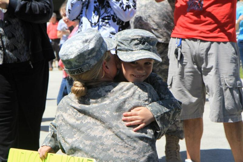 Soldiers from the Florida National Guard's 2153rd Financial Management Detachment return to St. Augustine, Fla., from a nine-month deployment overseas, March 25, 2013.