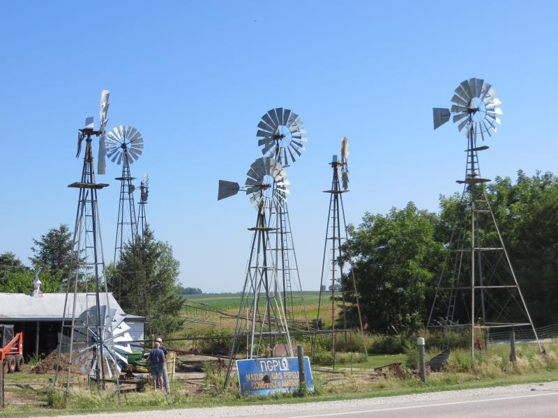 More than a dozen windmills soar above Jim Boll's acreage on Highway 44.