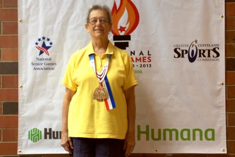 Flo Dietz with her Senior Olympics Gold Medal in Cleveland