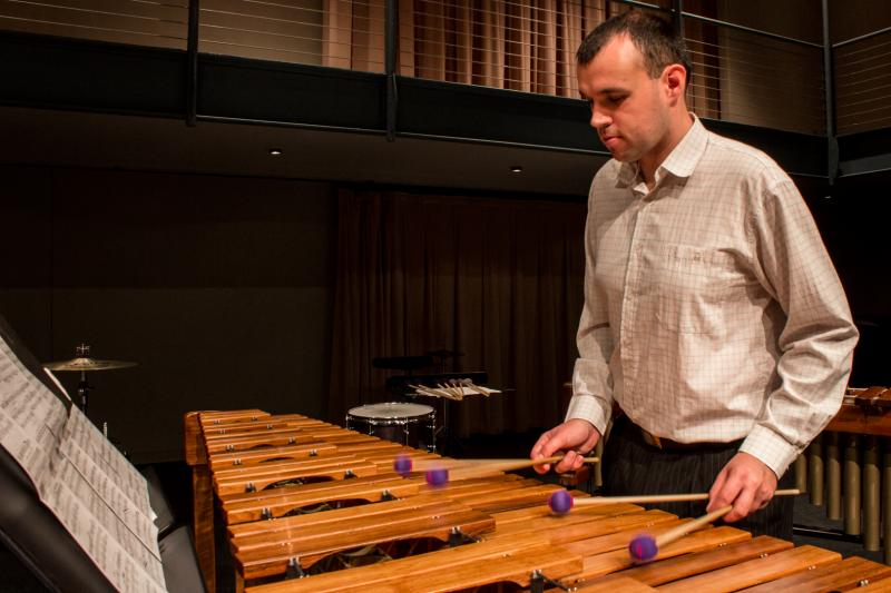 "Gabor Palotas performs music from the ""Iowa / Hungary Percussion Project"" in Cedar Falls. Palotas is a percussion instructor for primary school students in Kecskemet, Hungary. Gabor says performance of modern classical music in his country is rare."