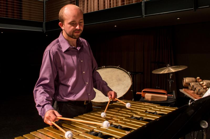 "Matthew Andreini performs music from the ""Iowa / Hungary Percussion Project"" in Cedar Falls.  Andreni says modern music helps classical music students form a better connection with their instrument.  Andreni is a percussion instructor at UNI."