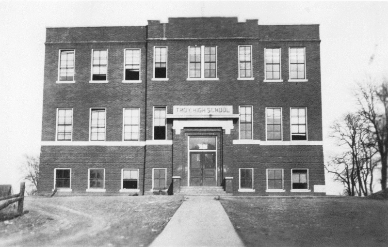 Vetra rode the family horse four miles to Troy to take her seventh-grade exams at the consolidated school. Built in 1915, the school closed in 1960. Courtesy of Leon Wilkinson.