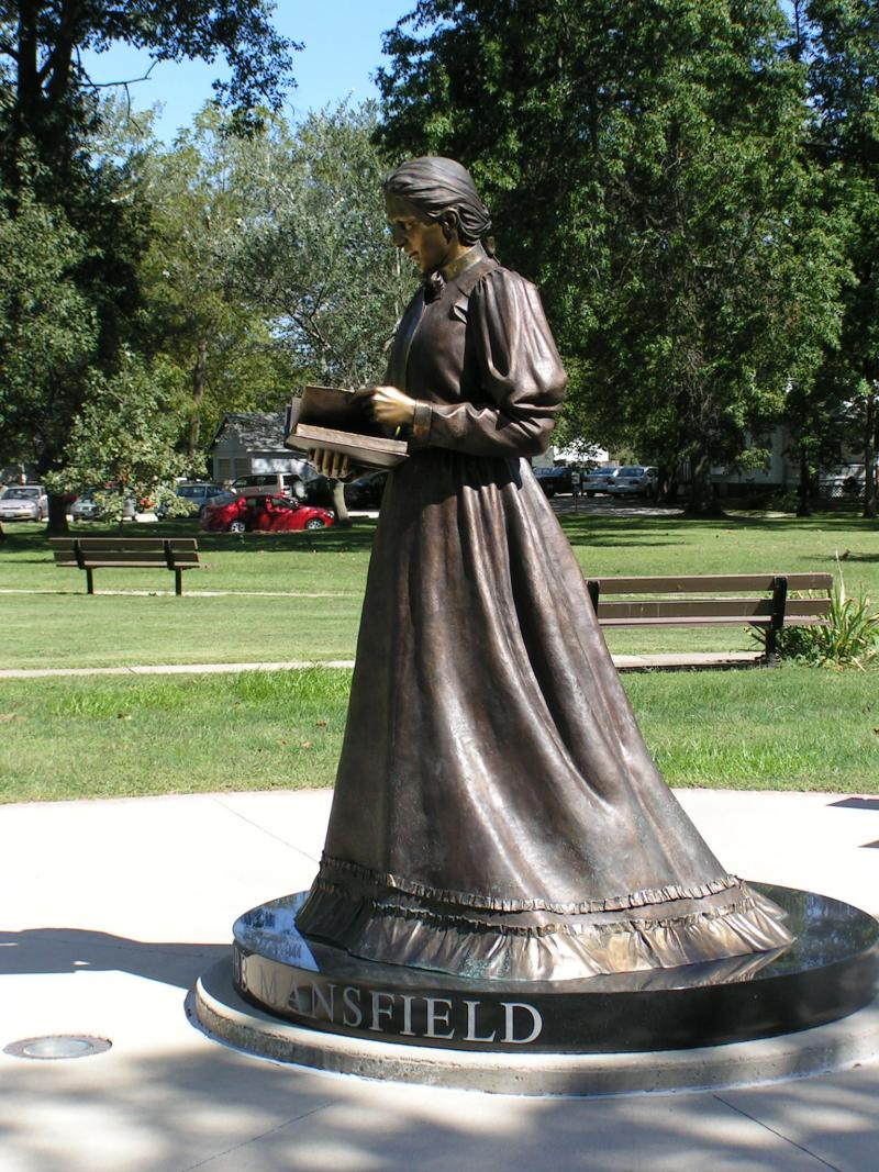 Pictured above is a bronze statue of Arabella Mansfield on the campus of Iowa Wesleyan College.  Mansfield was the first female lawyer in the U.S. She resided in Mount Pleasant and passed the Iowa Bar in 1869.