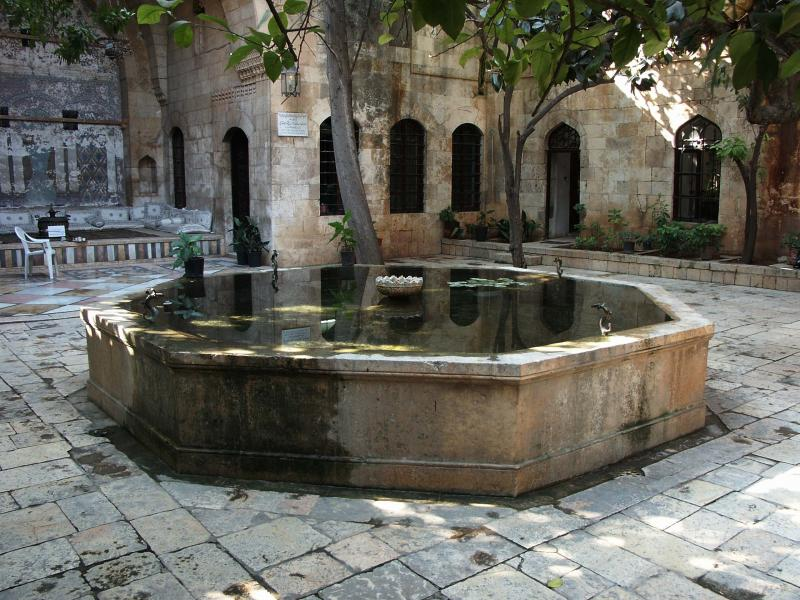 A fountain in Hama, Syria on September 28, 2005.  In February 1982 an uprising occurred in Hama. Then-president Hafez al-Assad retaliated and besieged the city.  At least 20,000 Syrians died.
