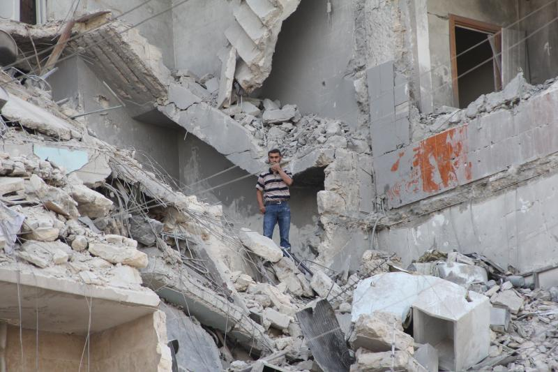A building destroyed by bombing in the Aleppo, Syria on September 11, 2012.