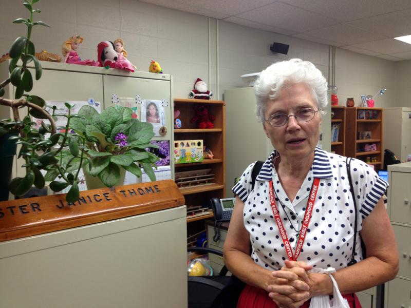 Sister Janice Thome at a local Garden City school. Thome teaches several classes, including a teen parenting class at the Garden City alternative high school.