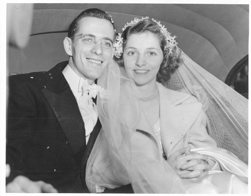 Richard and Peggy Snyder on their wedding day in November 1949