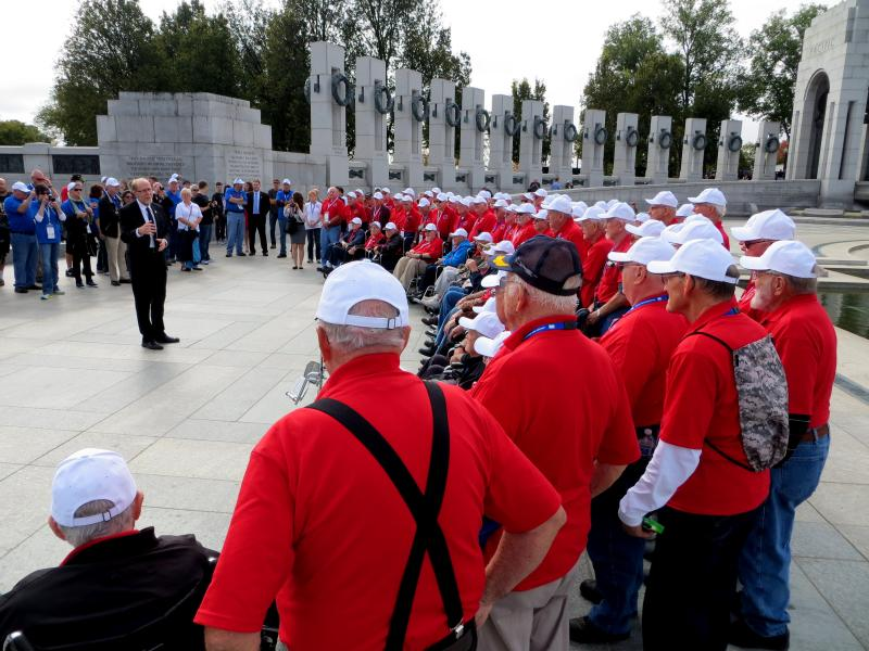 U.S. Rep. Dave Loebsack (D.-Iowa) speaks to Iowa veterans at the National World War II Memorial as part of the Oct. 18, 2013 Eastern Iowa Honor Flight.