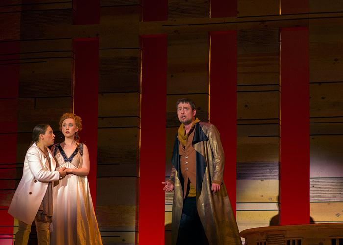 University of Iowa's Opera Theatre presents Mozart's La Clemenza di Tito with (From L to R) Lisa Neher as Annio; Allison Crain as Servilia; Brian Dykes as Publio.