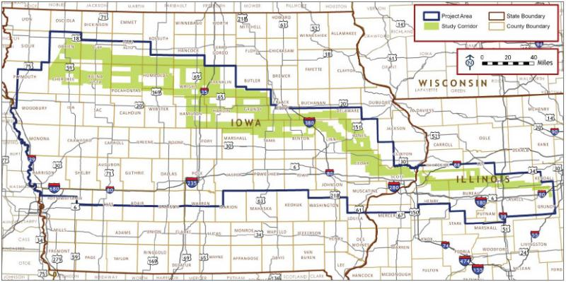 The study corridor for the Rock Island Clean Line stretches from northwest Iowa to Illinois.