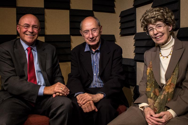 The 2013 World Food Prize laureates (from the right) Robert T. Fraley, Marc Van Montagu and Mary-Dell Chilton in Iowa Public Radio's Des Moines studio on October 14, 2013.