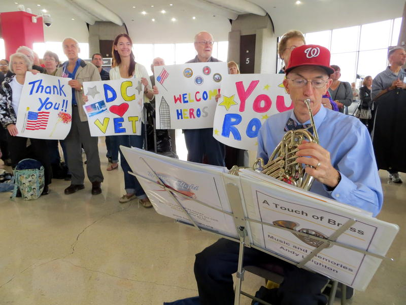 There were signs, cheering, and music as the veterans arrived in Washington D.C.