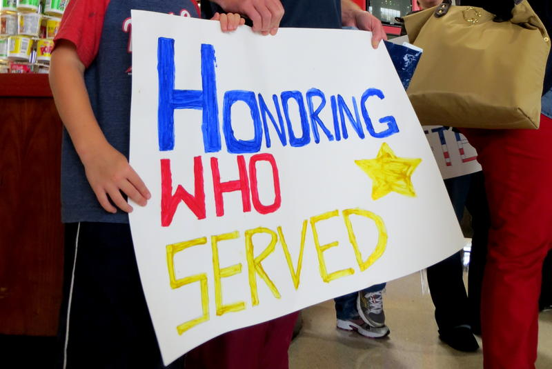 Sign welcoming Iowa veterans to Reagan Washington National Airport in D.C. on October 16, 2013